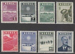 Stamp Norway Sc 259-66 WWII Norwegian Ships Correspondence War Germany MNH