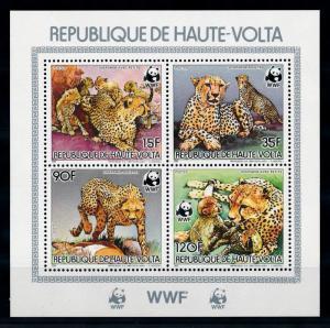 [75672] Upper Volta 1984 Wild Life Cheetah WWF Perf. Sheet MNH