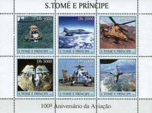 SAO TOME E PRINCIPE 2003 SHEET 100TH ANNIVERSARY AVIATION HELICOPTERS st3121