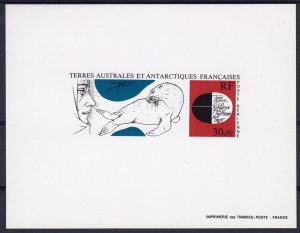 FSAT-TAAF 1985 Sc#C88 Explorer and Seal by Tremois DELUXE Souvenir Sheet IMPERF.