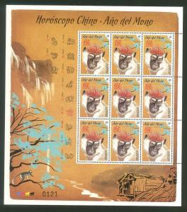 CHINA NEW YEAR OF MONKEY CHINESE CALENDAR APE ART URUGUAY MNH stamp sheet 2016