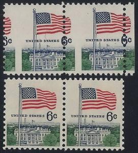 1338 - 6c Misperf Error / EFO Margin Pair Flag Over White House Mint NH