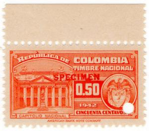 (I.B) Colombia Revenue : State Duty 50c (ABN specimen)