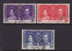 1937 St Lucia Coronation Set F/Used SG125/127
