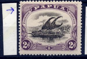 Papua sg 68 2d blk & purple var retouch at top left posn 1