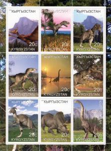 Kyrgyzstan 2000 Dinosaurs-Prehistoric Animals Sheetlet (9) Perforated MNH VF