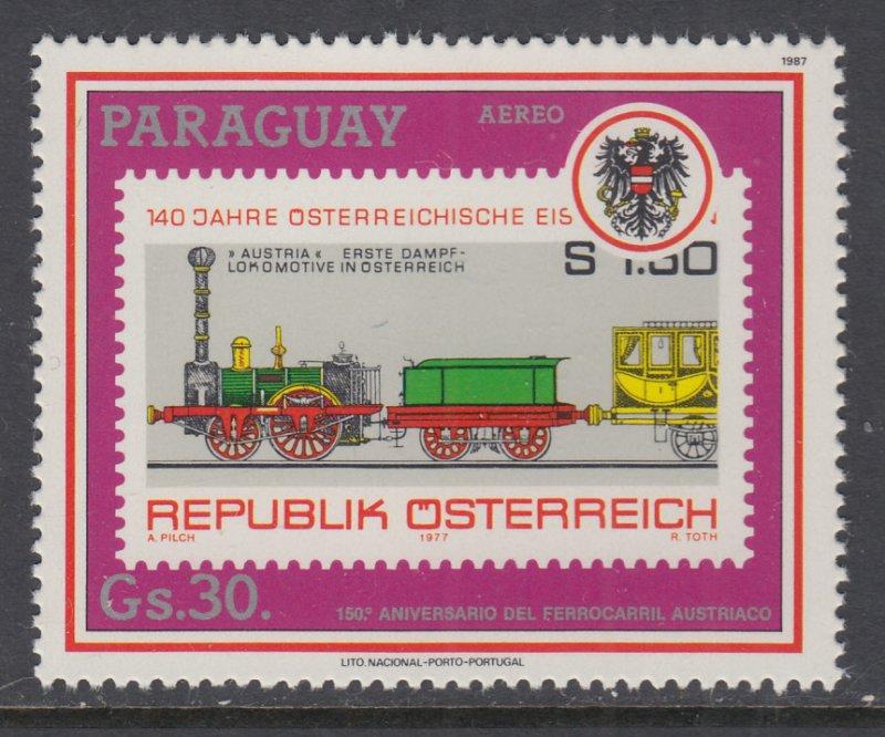 Paraguay C711 Train Stamp on Stamp MNH VF