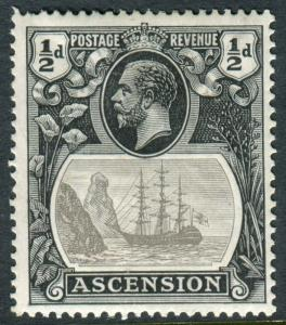 ASCENSION-1924-33 ½d Grey Black & Black BROKEN MAINMAST MM Sg 10a