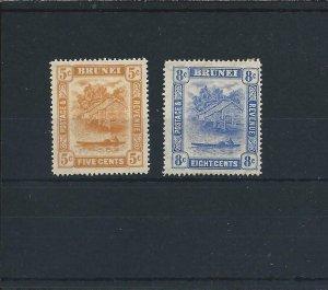 BRUNEI 1916 5c & 8c MM SG 49/50 CAT £36