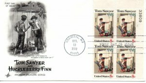 US FDC #1470 Tom Sawyer Plate Block, ArtCraft (9287)