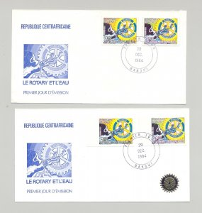 Central Africa 1984 Rotary 2v Perf & Imperf & 2v S/S Perf & Imperf on 6 FDC
