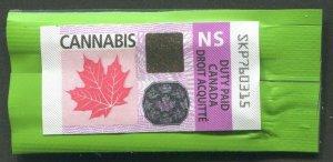 CANADA REVENUE NOVA SCOTIA CANNABIS DUTY PAID STAMP - USED
