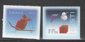 Estonia Sc 608-9 2008 Christmas stamps mint NH