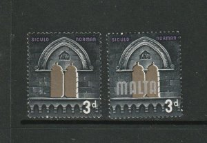 Malta 1965 Defs, 3d MALTA OMITTED, UM/MNH with normal, SG 335b, see notes