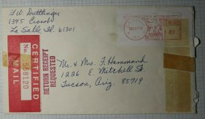 US Certified Mail Cover Metered Postage 1973 La Salle IL Red Label