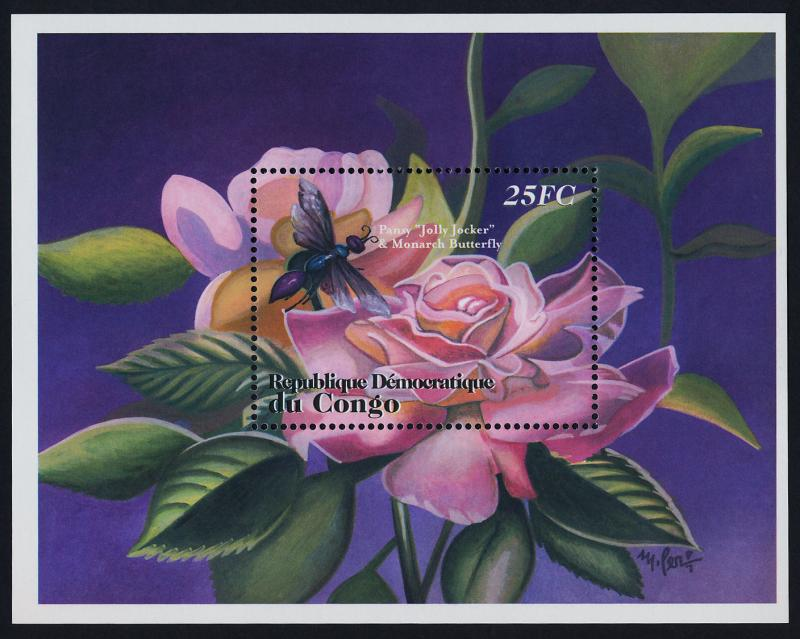 Congo CR 1610-2 MNH Flowers, Rose, Insect, Honey Bee