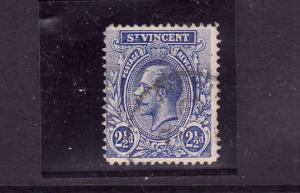 St. Vincent -Sc#107-2&1/2p ultra KGV used-1913-14-