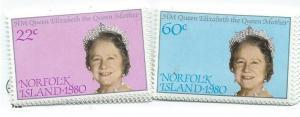 Norfolk Islands #271-272 Queen Mother 80th BD (MNH) CV$.85