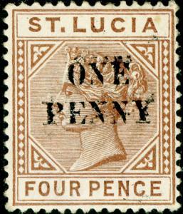 ST. LUCIA SG55a, 1d on 4d brown, M MINT. Cat £250. SURCH DOUBLE.