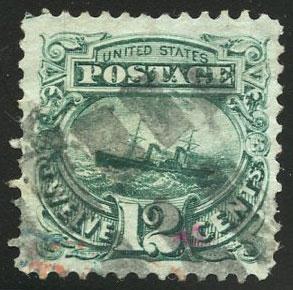 US Scott #117 Used, VF, Leaf w/red cxl