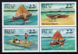 Palau 70a Canoes Boats MNH VF