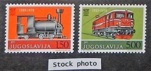 Yugoslavia 1111-12. 1972 Railroad Union, Locomotives, NH