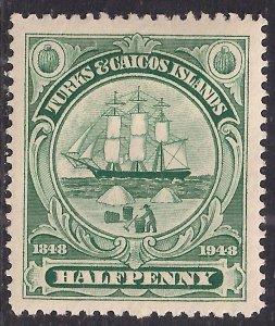 Turks & Caicos 1948 KGV1 1/2d Blue Green MM SG 210 ( H678 )