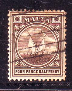 Malta Sc 15 1899 4 1/2d Gozo Fishing Boat stamp used
