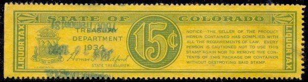 Colorado State Revenue Stamp 15c Liquor Tax # WL9