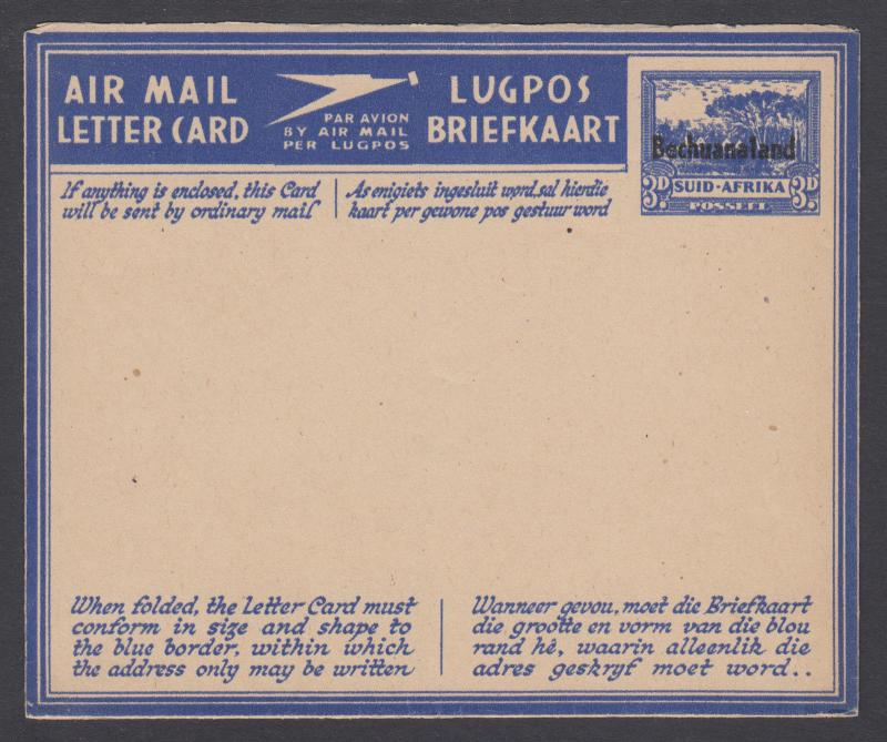 Bechuanaland Protectorate, H&G F-G5, unused 1945 3p blue on buff Aerogramme