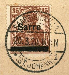 SARRE / SAARGEBIET - 1920 SAARBRÜCKEN 3 / * (ST. JOHANN) i cds /Mi.11.I 35pf