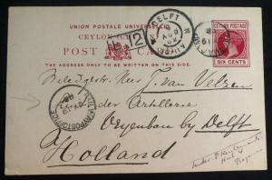 1902 Ragama Camp Ceylon Prisoner Boer War POW Postcard Cover To Holland