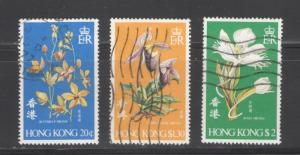 Hong Kong 1977 Orchids Scott # 342 - 344 Used