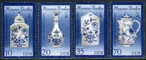 Germany DDR/GDR 2740-2743,MNH. Meissen Onion-pattern Porcelain.Vase,Teapot, 1989