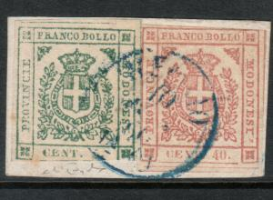 Modena #10 #13 (Sasonne #12 #17) Used Fine - Very Fine On Piece **With Cert.**