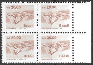 BRAZIL 1986-88 20cz Architecture Series Block of 4 Scott No. 2069 MNH