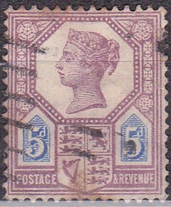 GREAT BRITAIN 1888 QV 5d Dull Purple & Blue SG207a Used