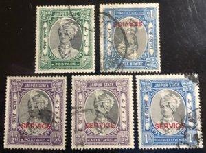 Jaipur India Feudatory State Scott#40, O13(2), O24(2) F/VF Used Cat. $1.05