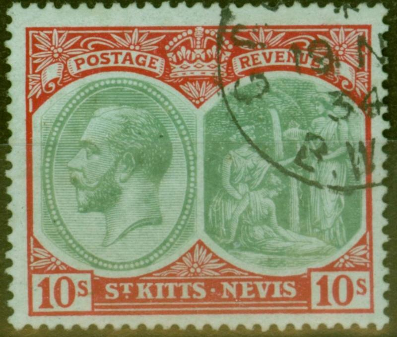 St Kitts & Nevis 1920 10s Green & Red-Green SG35 Superb Used