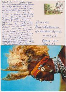 Kenya to Canada #257 Paying Postage on 1985 View Card Sur Dancer