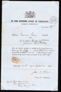 Gibraltar 1885 Supreme Court document with 1p25 revenue