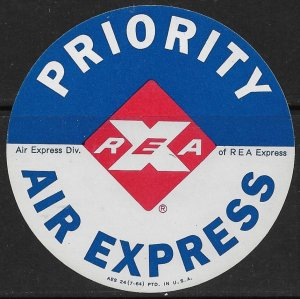 USA 1964 RAILWAY EXPRESS AGENCY PRIORITY AIR EXPRESS LABEL MNH