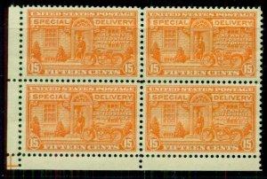 US #E13, 15¢ Spec. Delivery, Corner Block of 4, NH, VF+, Scott $300.00