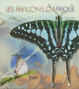 Burundi MNH S/S Blue African Butterfly Insect 2012