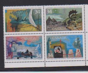 CANADA EXPLORATION OF CANADA #1107i,BLOCK OF STAMPS MNH WITH ERROR LOT#E712