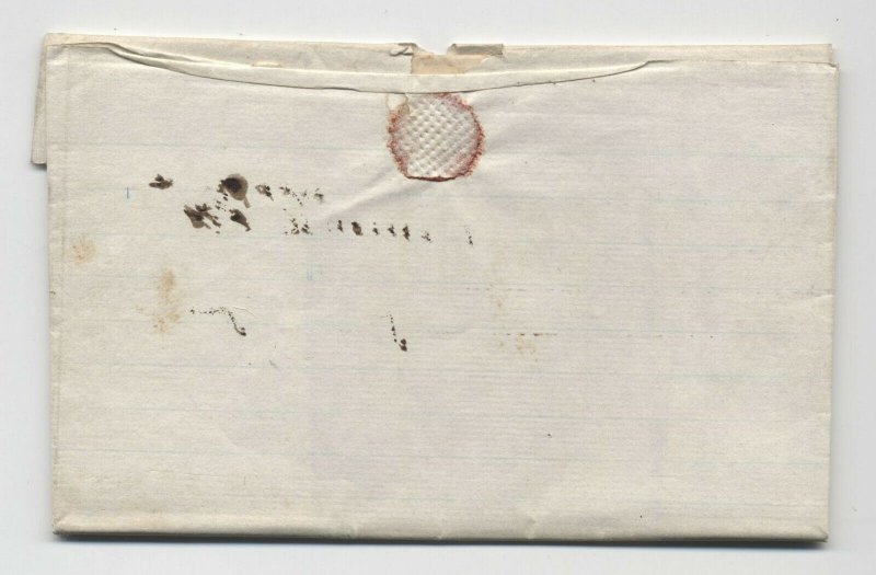 1846 Knoxville IL manuscript stampless folded letter REFUSED  [5806.604]