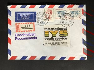 Germany #1475//9N532 Famous Women Registered Cover to Finland #1057