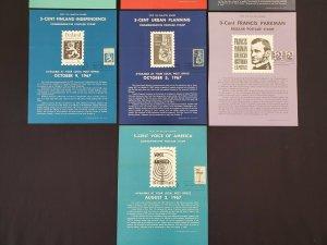 1967 & 1968 Vintage USPS Bulletin Board Poster Folded Lot of 10 w/ FDI Cancel