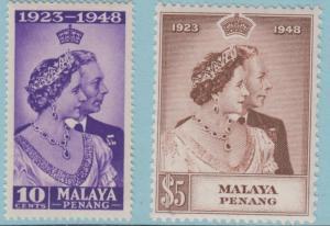 Malaya Perlis 1 - 2 Mint Hinged OG * - No Faults Extra Fine!