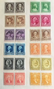 704 - 715 Washington Series, Mint pairs, hinge mounted, Vic's Stamp Stash